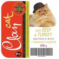 Clan Cat кусочки в желе с говядиной и индейкой 100 г